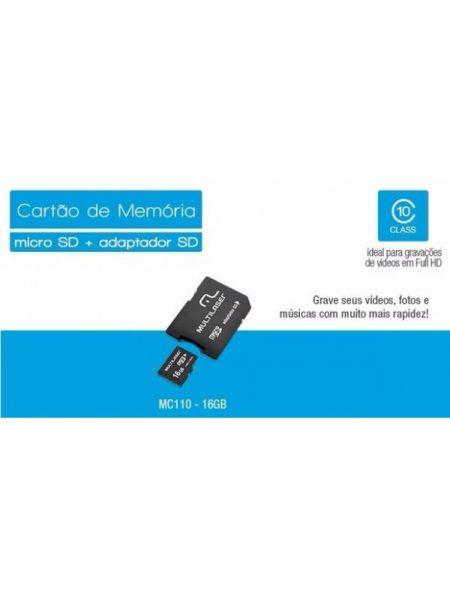Cartao Memoria 16GB + adaptador Micro SDHC Multilaser MC110